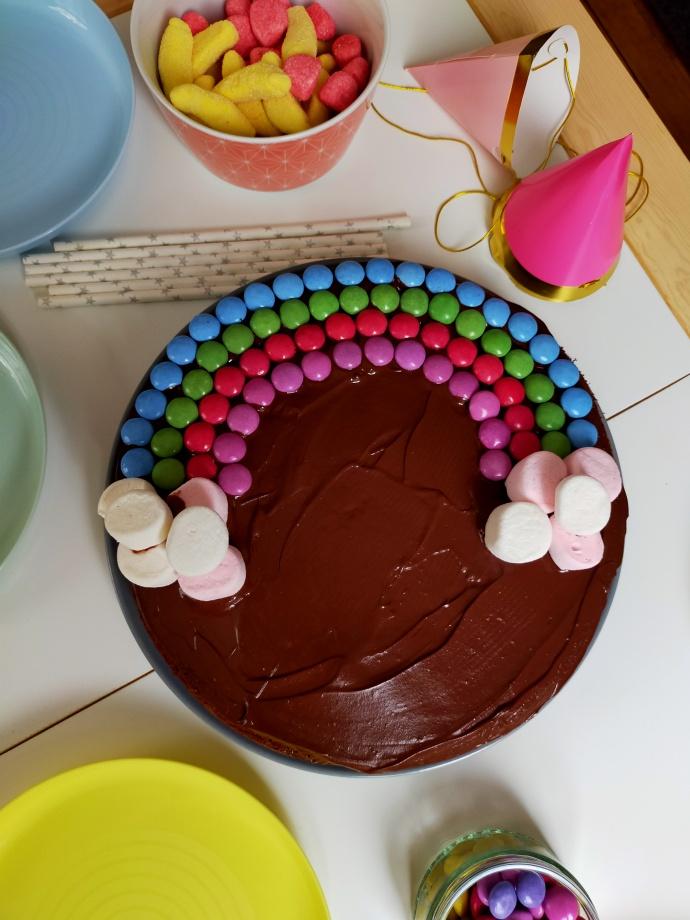 gâteau arc-en-ciel, choco-caramel, anniversaire